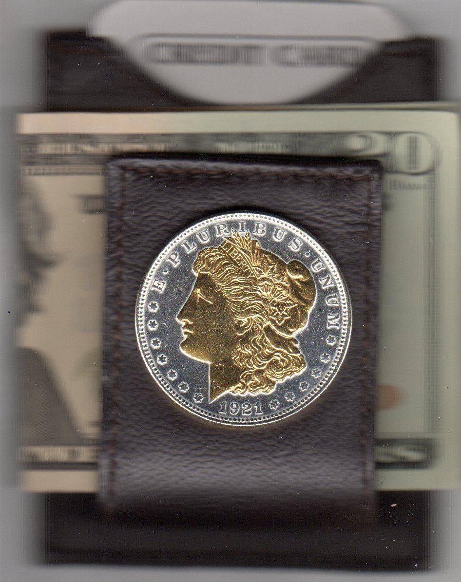U.S. Morgan Silver Dollar (1878 - 1921) Two Tone Coin Folding Money Clip JJJ-63FMC
