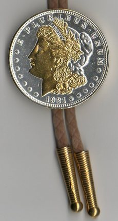 U.S. Morgan Silver Dollar Two Tone Coin Bolo Tie