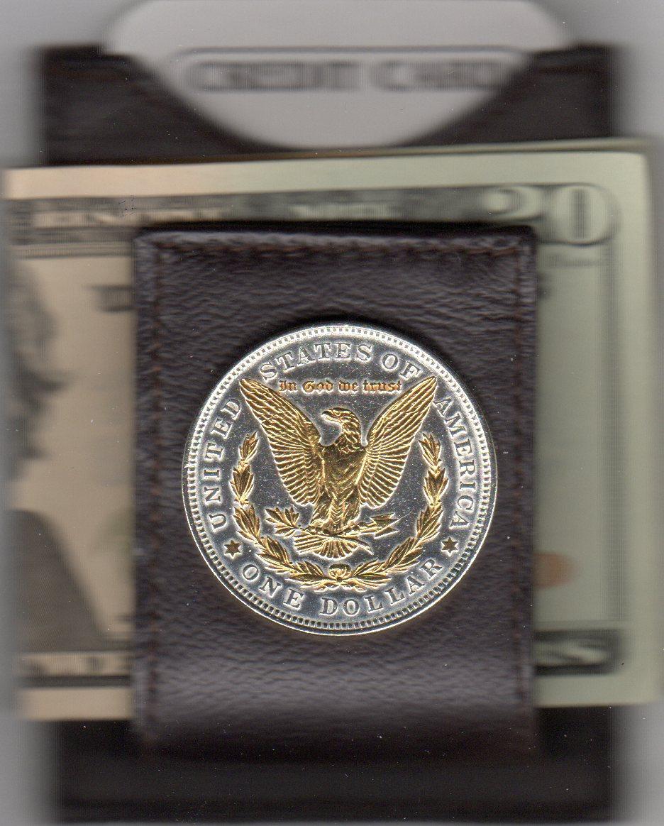 U.S. Morgan Reverse Silver Dollar (1878 - 1921) Two Tone Coin Folding Money Clip JJJ-65FMC