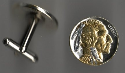 U.S. Indian Head Nickel Two Tone Coin Cuff Links - 1 Pair
