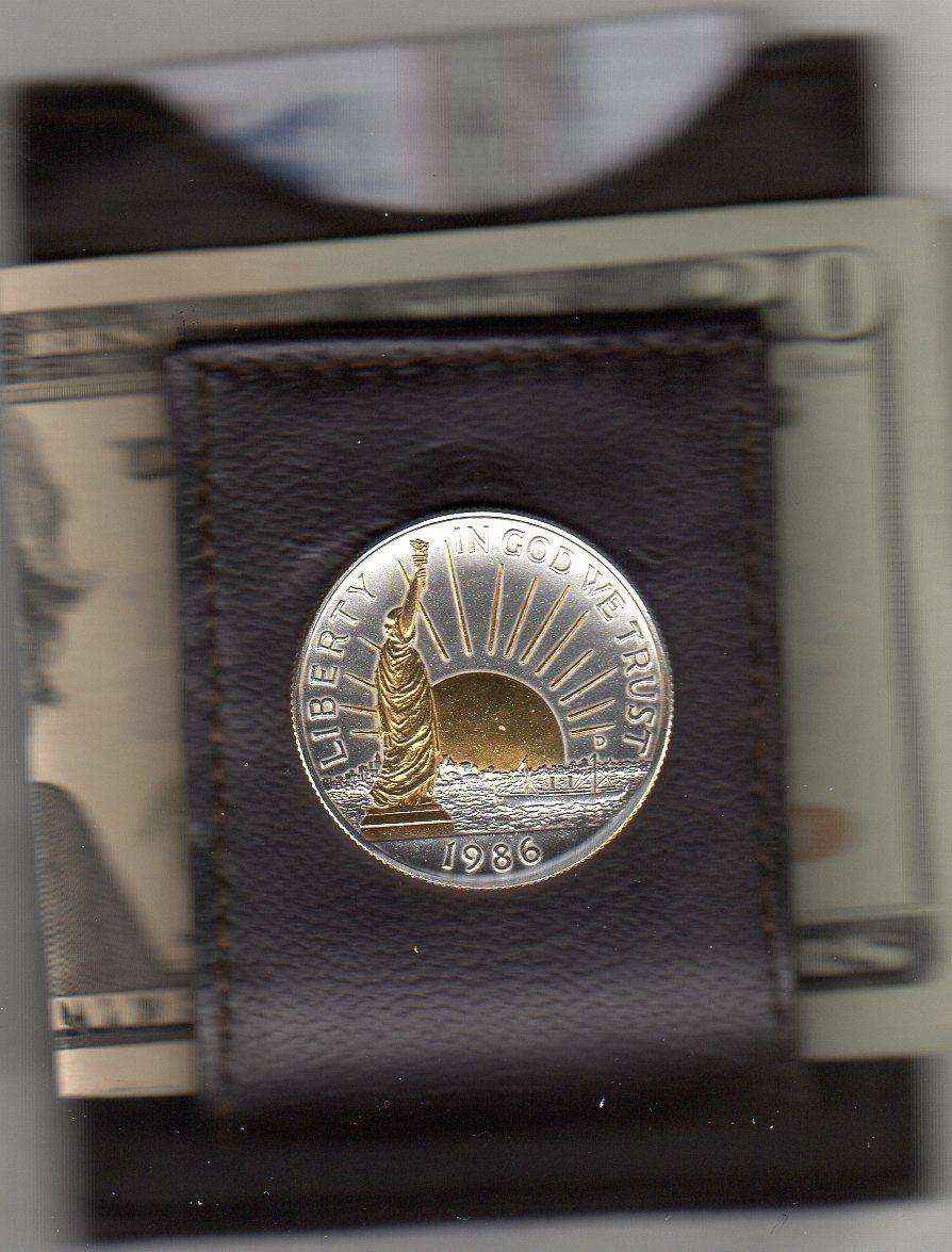 U.S. Statue of Liberty Half Dollar (1986) Two Tone Coin Folding Money Clip JJJ-85FMC