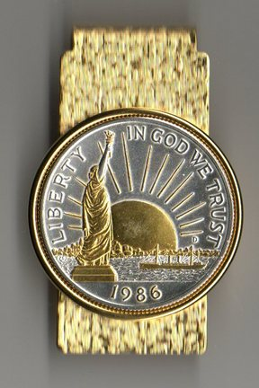 U.S. Statue of Liberty Half Dollar Two Tone Coin Hinge Money Clip (Minted 1986)