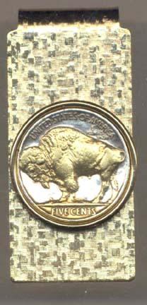 Buffalo Nickel  (1913 - 1938) Two Tone U.S. Coin Hinged Money Clip