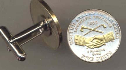 """New Jefferson Nickel """"Peace"""" Two Tone U.S. Coin Cuff Links - 1 Pair"""