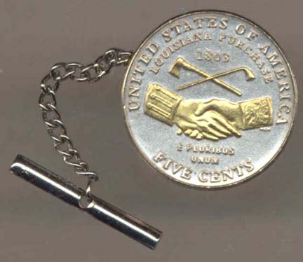 Jefferson Nickel 'Peace Medal' (2004) Two Tone Gold on Silver U.S. Coin Tie / Hat Tack