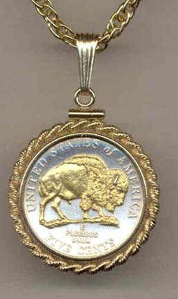 """Buffalo Nickel (2005) Two Tone Rope Bezel U.S. Coin Pendant with 18"""" Chain"""