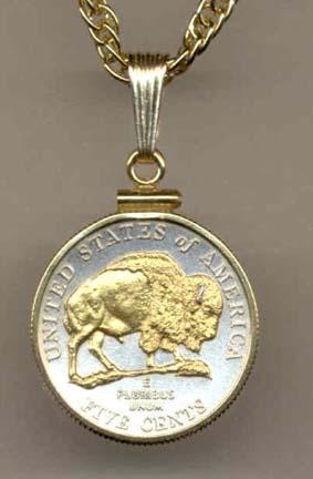 "Buffalo Nickel (2005) Two Tone Plain Edge U.S. Coin Pendant with 18"" Chain"