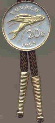 """Tuvalu 20 Cent """"Flying Fish"""" Coin Bolo Tie"""