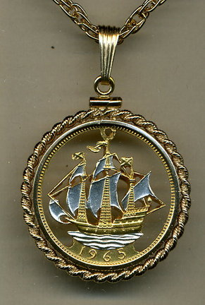 """British 1/2 Penny Two Tone Coin Cut Out Pendant with 18"""" Chain and Rope Bezel"""