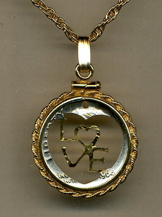 """U.S. Dime """"Special Cut Design"""" Two Tone Coin Cut Out Pendant with 18"""" Chain and Rope Bezel"""