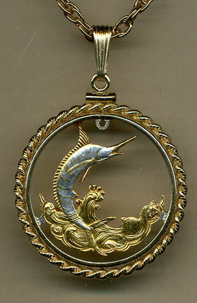 """Bahamas 50 Cent """"Blue Marlin"""" Two Tone Coin Cut Out Pendant with 24"""" Chain and Rope Bezel"""