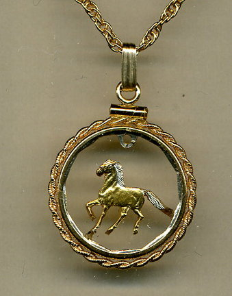 "Uruguay 10 Centesimal ""Horse"" Two Tone Coin Cut Out Pendant with 24"" Chain and Rope Bezel"