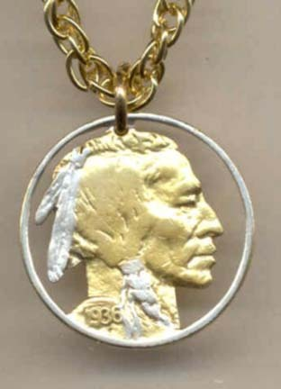 "U.S. Indian Nickel Two Tone Coin Cut Out with 18"" Chain"
