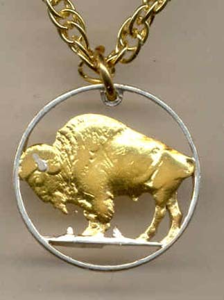 """U.S. Buffalo Nickel Two Tone Coin Cut Out with 18"""" Chain"""