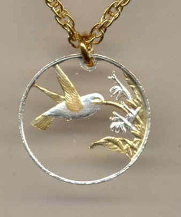 """Trinidad & Tobago 1 Cent  """"Hummingbird"""" Two Tone Coin Cut Out with 18"""" Chain"""