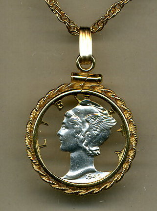 """U.S. Mercury Dime Two Tone Coin Cut Out Pendant with 18"""" Chain and Rope Bezel"""