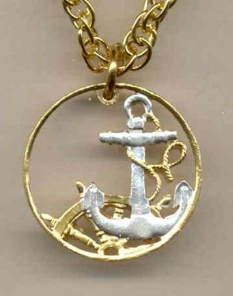 """Spanish  50 Centimes """"Anchor & Ships Wheel"""" Two Tone Coin Cut Out with 18"""" Chain"""