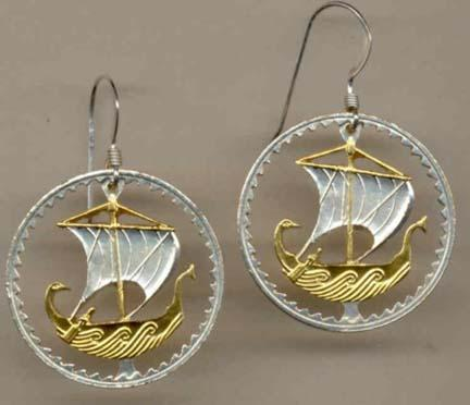 Cyprus 5 Mils Viking Ship Two Toned Coin Cut Out Earrings