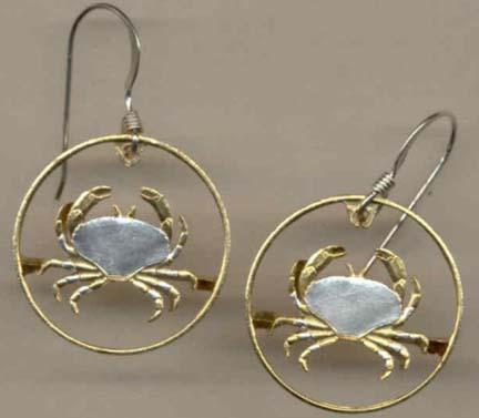 "Guernsey Penny ""Crab"" Copper Two Tone Coin Cut Out Earrings"
