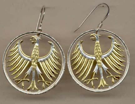 """German 5 Mark """"Eagle"""" Two Toned Coin Cut Out Earrings"""