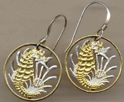 """Singapore 10 Cent """"Seahorse and Seaweed"""" Two Tone Coin Cut Out Earrings"""