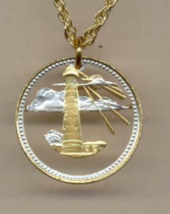 """Barbados 5 Cent """"Lighthouse"""" Two Tone Coin Cut Out Pendant with 18"""" Chain"""