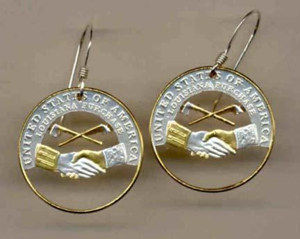 """New Jefferson Nickel """"Peace Medal"""" (2004) Two Toned Coin Cut Out Earrings"""