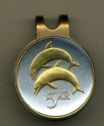 "Iceland 5 Kronur ""Dolphins"" Two Tone Coin Golf Ball Marker"