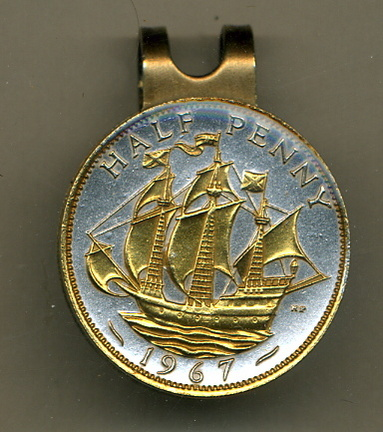British 1/2 Penny 'Sailing Ship' Two Tone Coin Golf Ball Marker