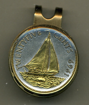 Bahamas 25 Cent 'Sail Boat' Two Tone Coin Golf Ball Marker