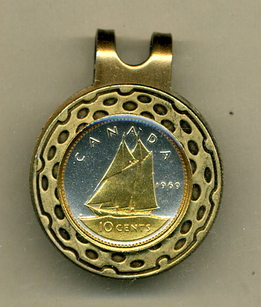 Canadian 10 Cent 'Bluenose Sail Boat' Two Tone Coin Golf Ball Marker