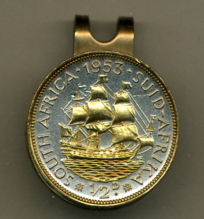 South African 1/2 Penny 'Sailing Ship' Two Tone Coin Golf Ball Marker