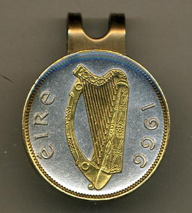 Irish 1/2 Penny 'Harp' Two Tone Coin Golf Ball Marker