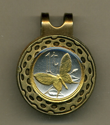 "Papua New Guinea 1 Toea ""Butterfly"" Two Tone Coin Golf Ball Marker"