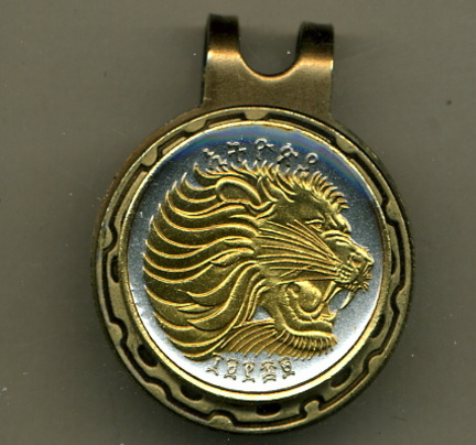 Ethiopia 25 Cent 'Lion' Two Tone Coin Golf Ball Marker