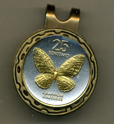 Philippines 25 Sentimos 'Butterfly' Two Tone Coin Golf Ball Marker