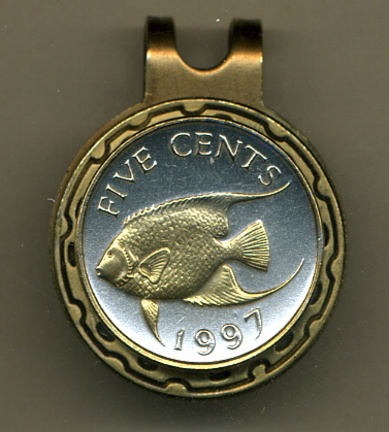 Bermuda 5 Cent 'Angel Fish' Two Tone Coin Golf Ball Marker