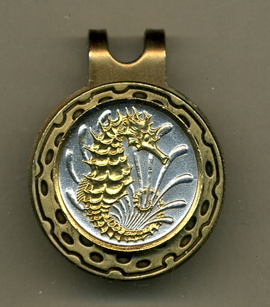 """Singapore 10 cent """"Sea Horse"""" Two Tone Coin Golf Ball Marker"""