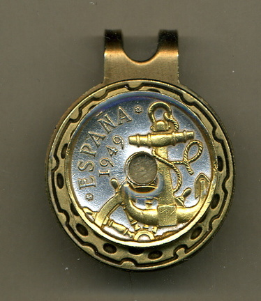 Spanish 50 centimes 'Anchor and Ship's Wheel' Two Tone Coin Golf Ball Marker