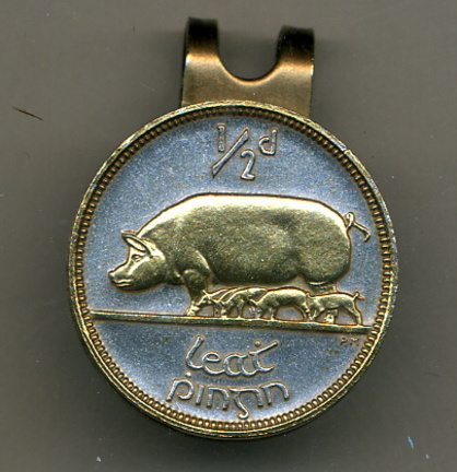 Irish 1/2 Penny 'Pig and Piglets' Two Tone Coin Golf Ball Marker