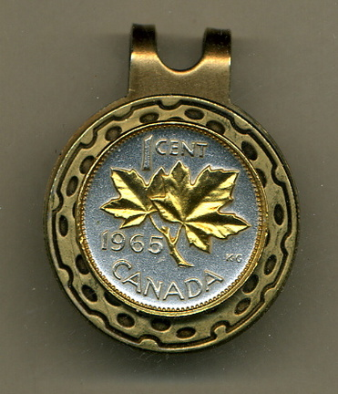 Canadian Penny 'Maple Leaf' Two Tone Coin Golf Ball Marker