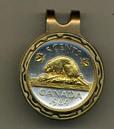 Canadian Nickel 'Beaver' Two Tone Coin Golf Ball Marker