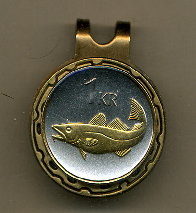 Iceland 1 krona 'Cod Fish' Two Tone Coin Golf Ball Marker