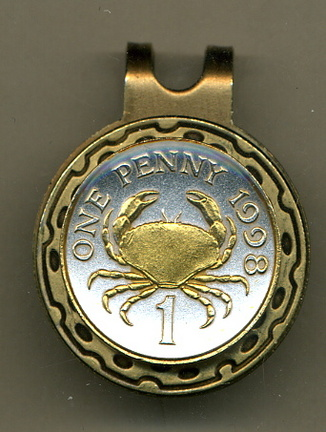 Guernsey Penny 'Crab' Two Tone Coin Golf Ball Marker