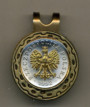 Polish 5 Groszy 'Eagle with Crown' Two Tone Coin Golf Ball Marker