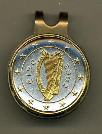 "Irish Euro ""Harp and Stars"" Two Tone Coin Golf Ball Marker"