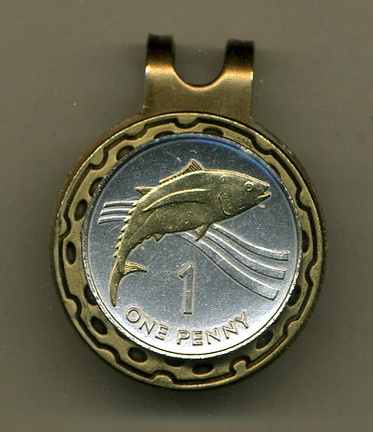 St. Helena Island Penny 'Tuna Fish' Two Tone Coin Golf Ball Marker