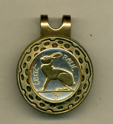 Ireland 3 Pence 'Rabbit' Two Tone Coin Golf Ball Marker