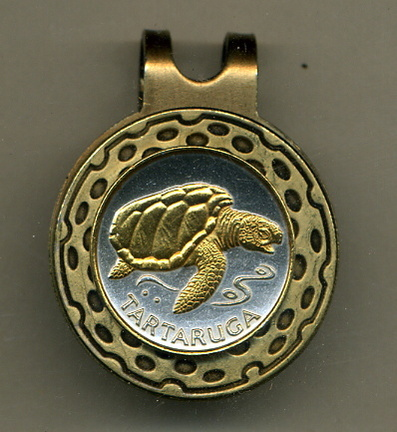 Cape Verde 1 Escudos 'Sea Turtle' Two Tone Coin Golf Ball Marker