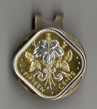 """Bahamas 15 Cent """"White Hibiscus"""" Two Tone Coin Ball Marker"""